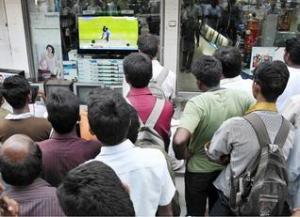 watching cricket